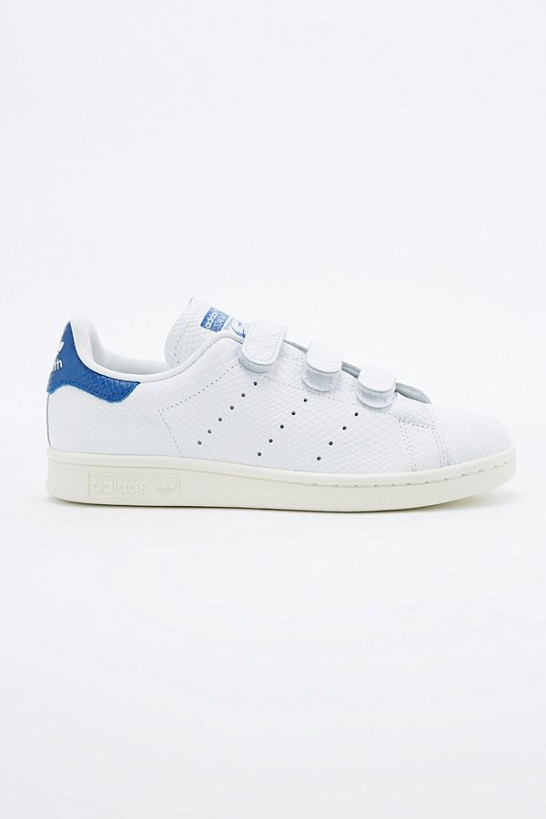 best sneakers b57e3 f37bb adidas Originals Stan Smith White & Blue Velcro Trainers ...