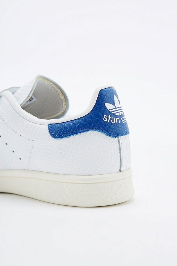 best sneakers 34ec6 9272e adidas Originals Stan Smith White & Blue Velcro Trainers ...