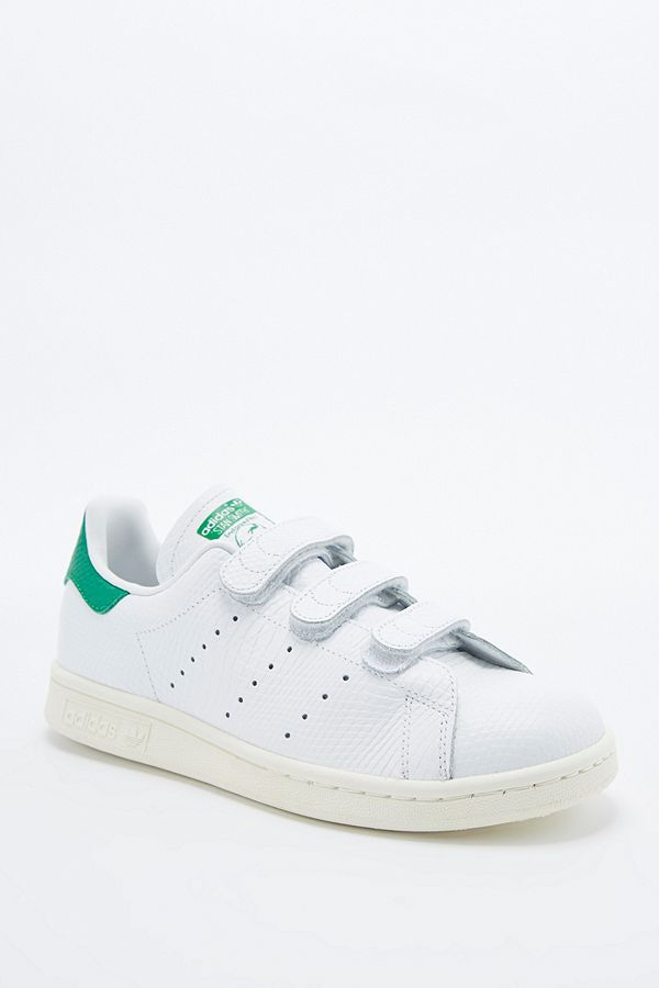 vente chaude en ligne f7aa7 5f044 adidas Originals Stan Smith White & Green Crocodile Velcro ...