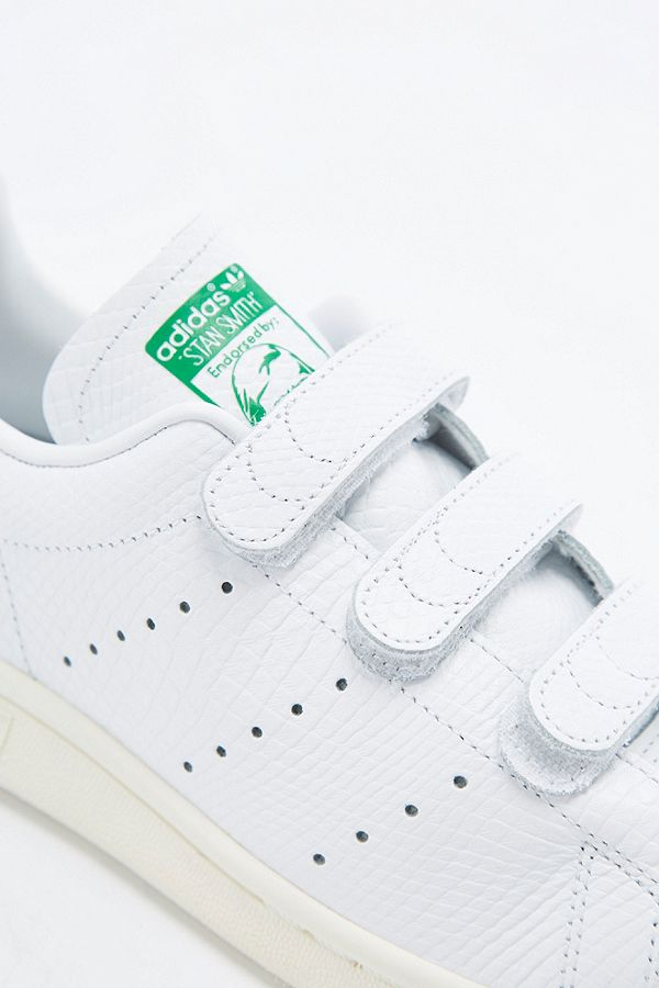 hot sale online 16da0 19fee adidas Originals Stan Smith White & Green Crocodile Velcro ...
