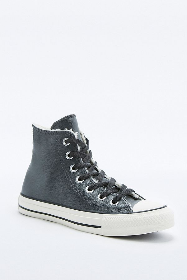 6c64db63193774 Converse All Star Chuck Taylor Black Leather Shearling High-Top ...