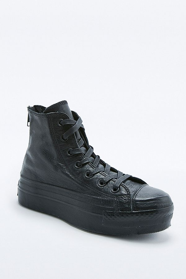 9a846aec8762 Converse Chuck Taylor Black Leather Platform High-Top Trainers ...