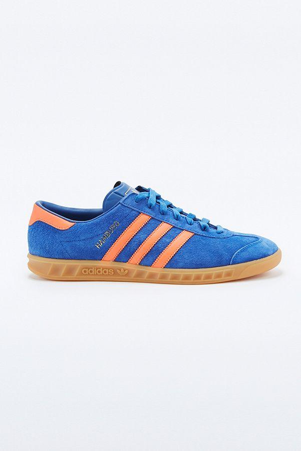 adidas sneaker blau mit orangenen streifen