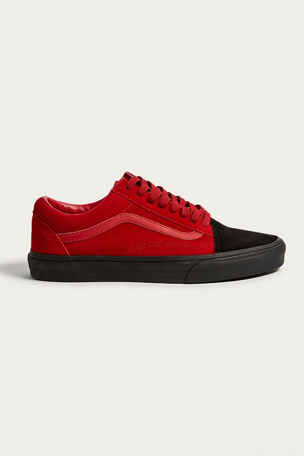 15bb216f7fd590 Vans Old Skool Suede Red and Black Trainers