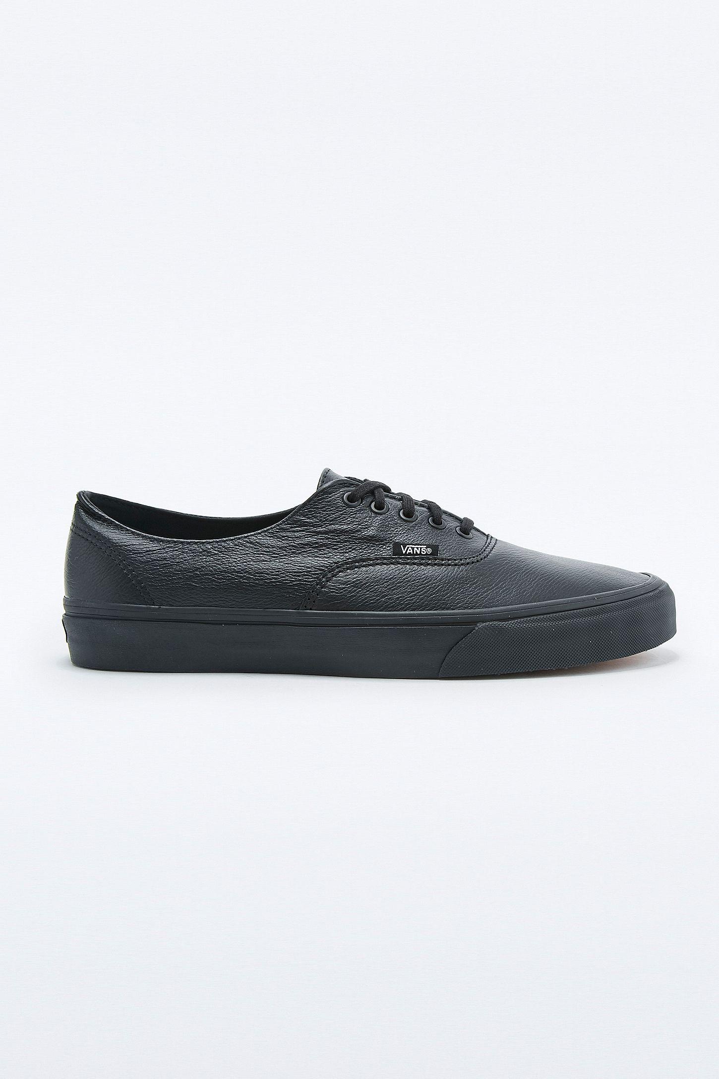 9de3aac289 Vans Authentic Decon Black Leather Trainers