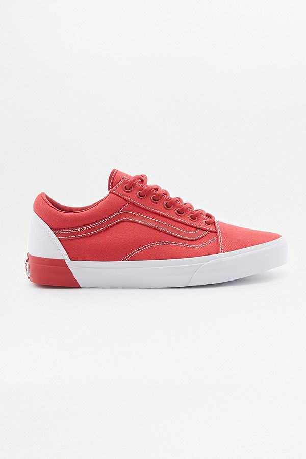 Trainers Blocked Red Old And White Vans Skool WxEQCodBer