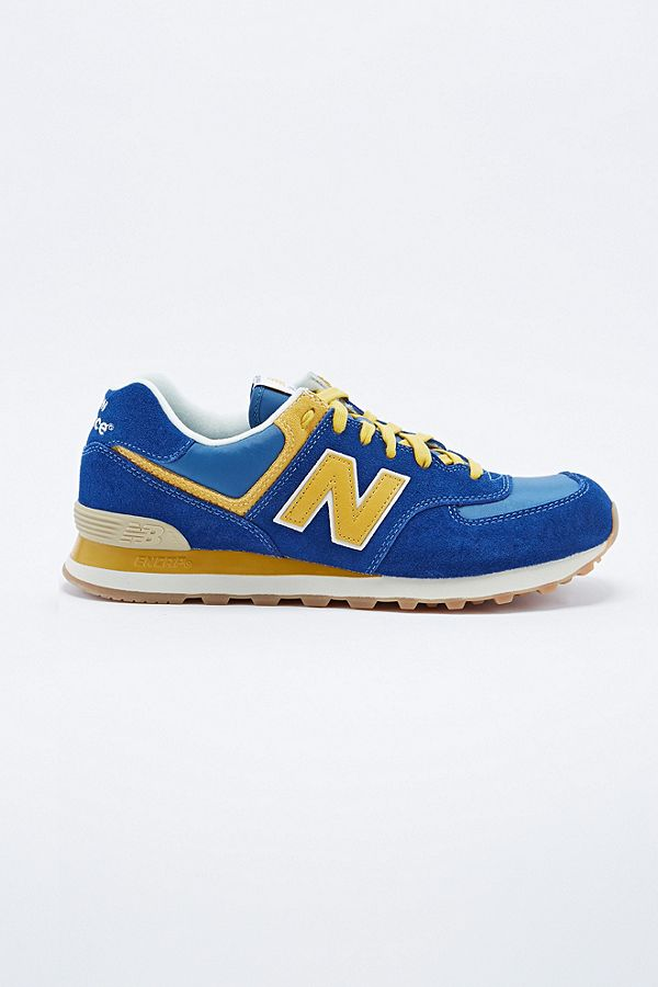 online store c2dd6 8335f New Balance 574 Classic Running Trainers in Blue and Yellow ...