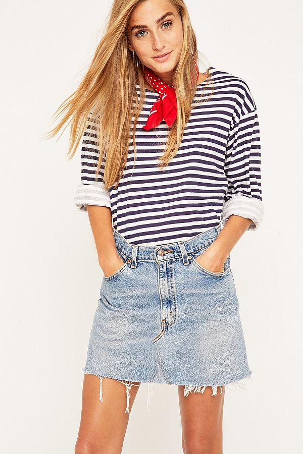 be6b5a955b Urban Renewal Vintage Re-Made Levi's Denim Mini Skirt | Urban ...