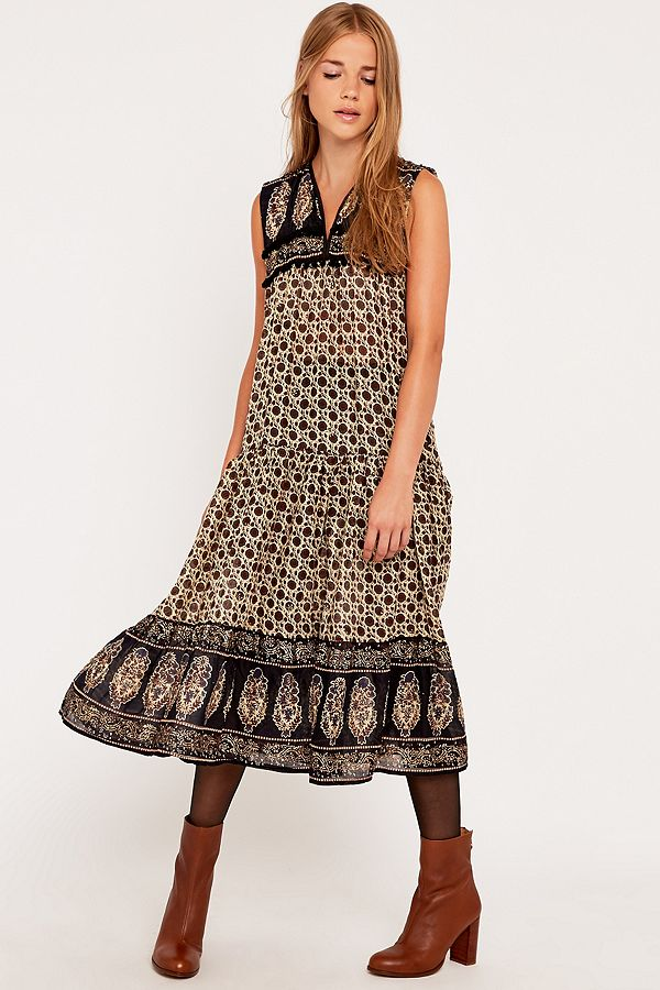 675f88fdb8 Slide View: 1: Urban Renewal Vintage Customised Pom Pom Embellished Indian  Midi Dress in