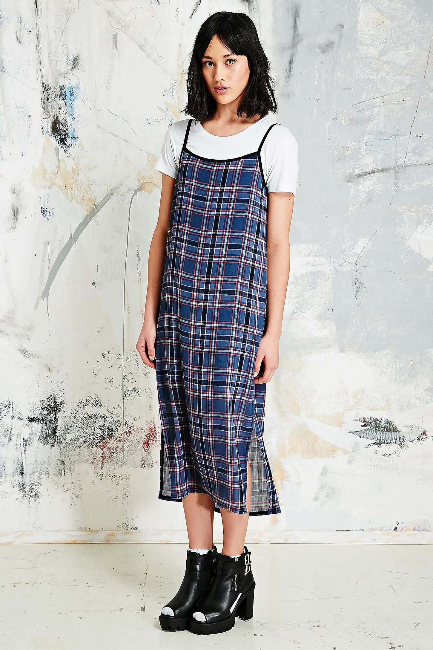 5efe680548a Vintage O O Side-split Midi Dress in Tartan. Click on image to zoom. Hover  to zoom. Double Tap to Zoom