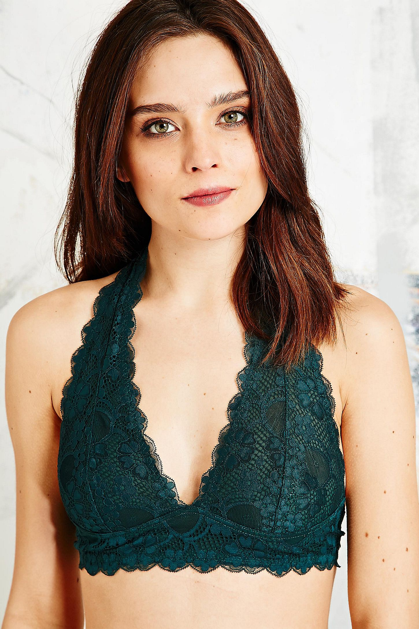 574e8e2b4f7 Free People Galloon Lace Halterneck Bra in Forest Green. Click on image to  zoom. Hover to zoom. Double Tap to Zoom
