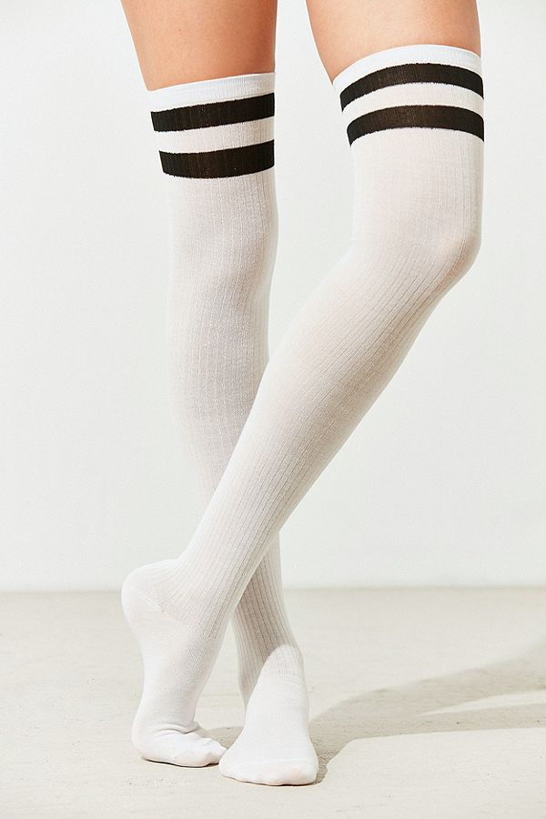 d7e3a6eedb9 Out From Under Varsity Striped Thigh High Socks