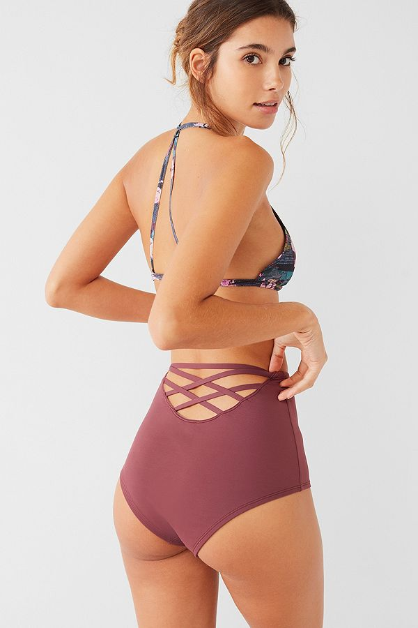 ba92aee3376 Out From Under Maroon Strappy Back High-Waisted Bikini Bottoms ...
