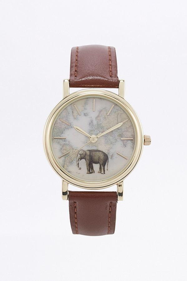 Elephant Map Leather Watch