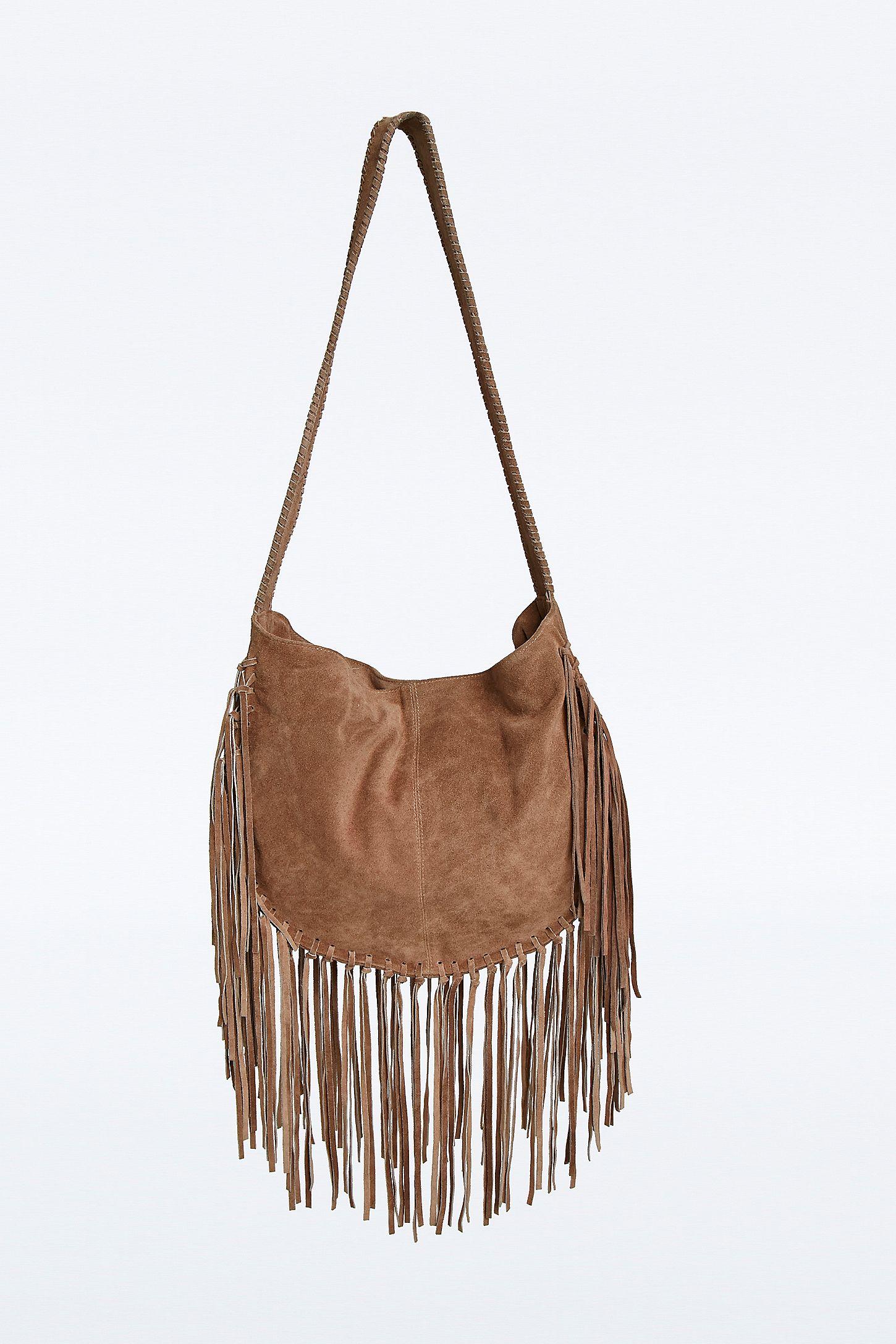 fa1b24ab Ecote Bettina Suede Fringe Boho Bag in Beige | Urban Outfitters UK