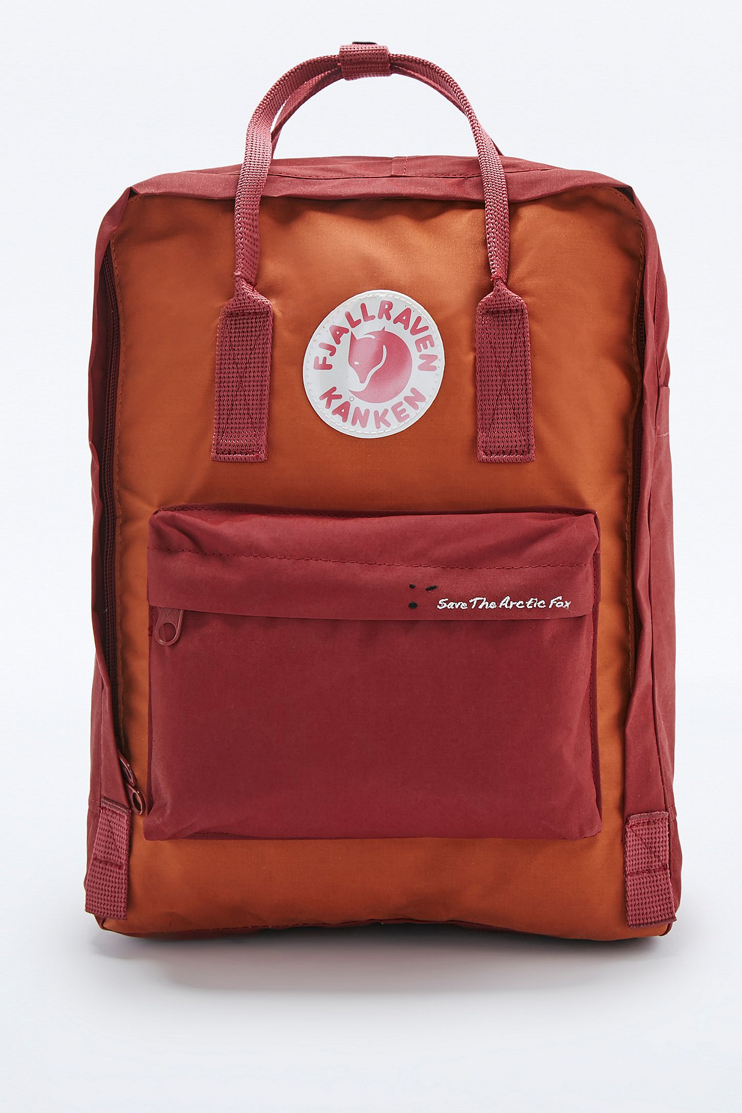 6a5935f9491 Fjallraven Kanken Classic Red Brick Save the Arctic Fox Backpack ...