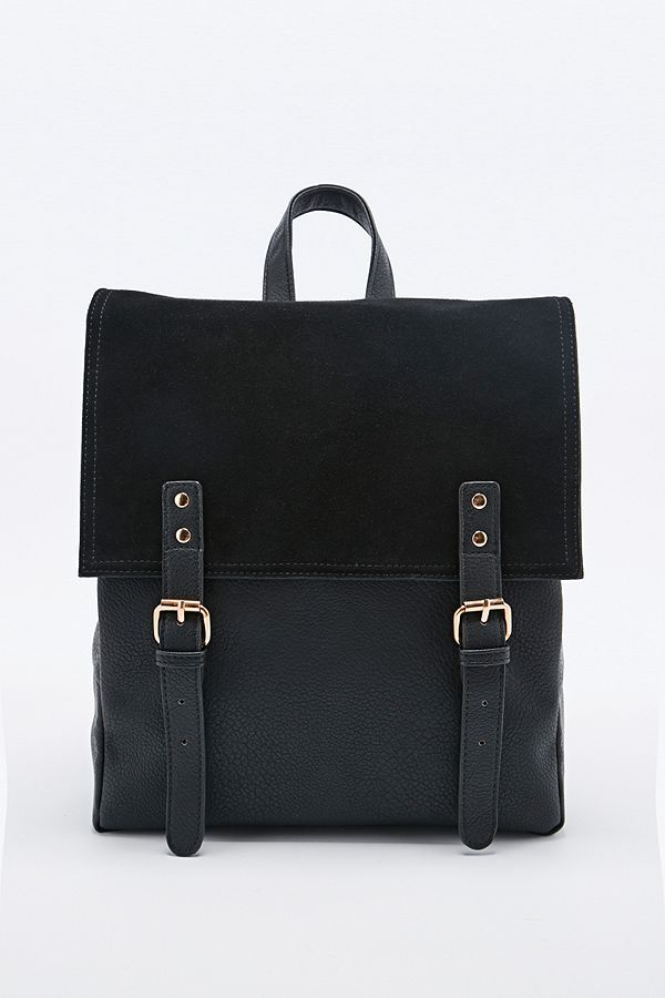 f028720ca1 Deena & Ozzy Suede Panel Backpack in Black | Urban Outfitters UK