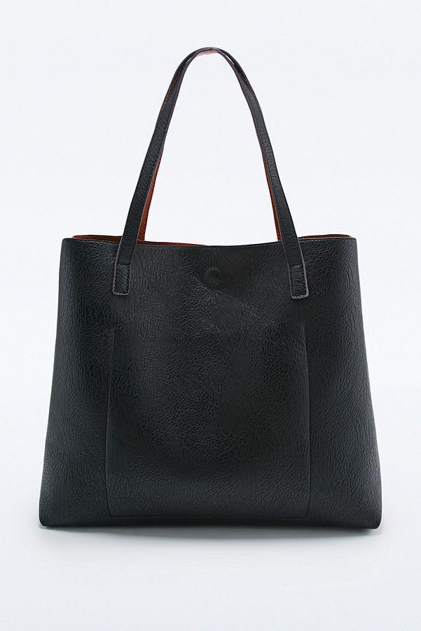 383b09b2b83a3 Slide View: 3: Reversible Vegan Leather Pocket Tote Bag in Tan and Black