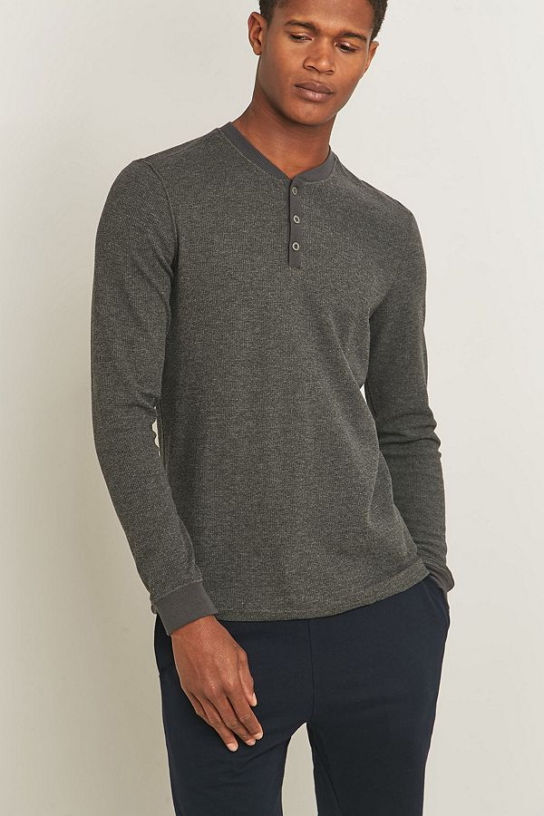 805595f7 Bread & Boxers Grey Thermal Lounge Henley Shirt | Urban Outfitters UK