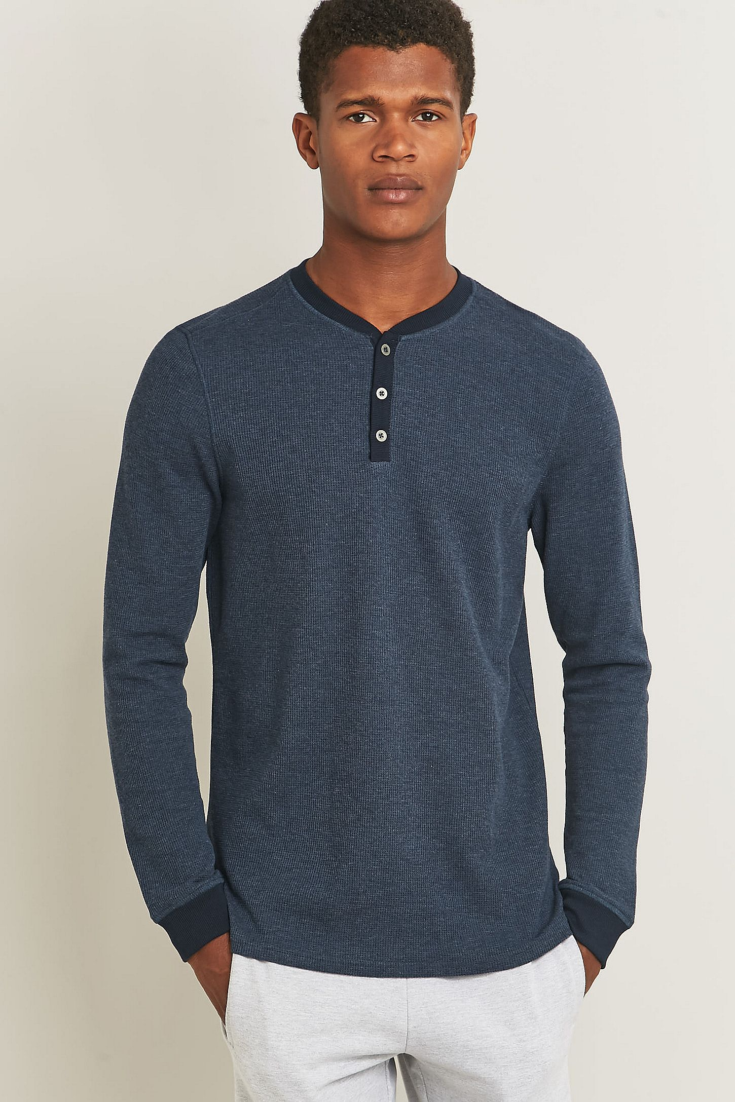 48a09105 Bread & Boxers Navy Thermal Lounge Henley Shirt | Urban Outfitters UK
