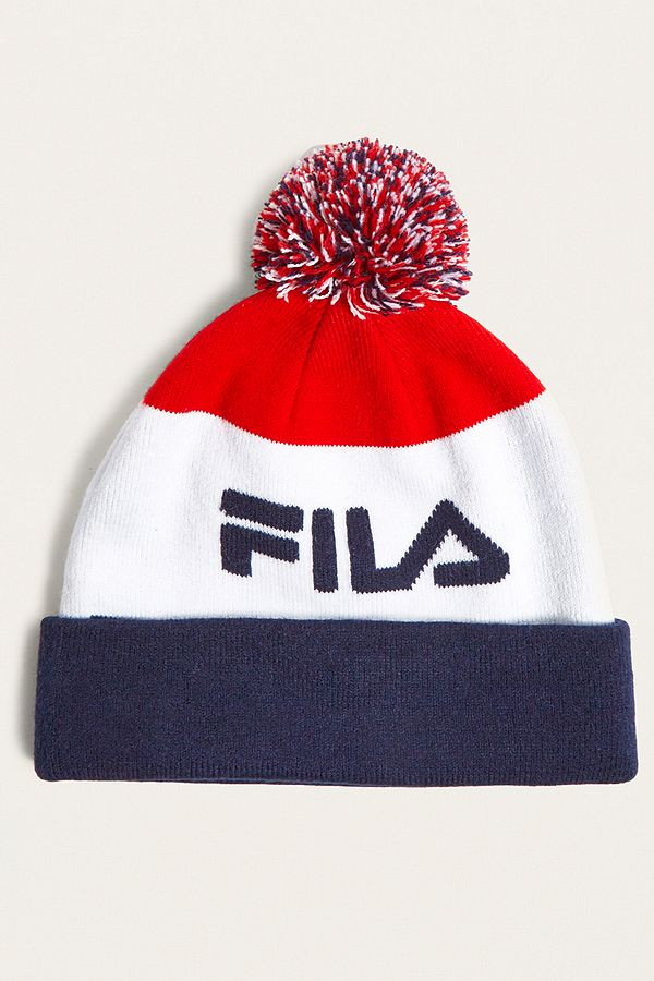 a547488d FILA Red, White and Navy Beanie | Urban Outfitters UK