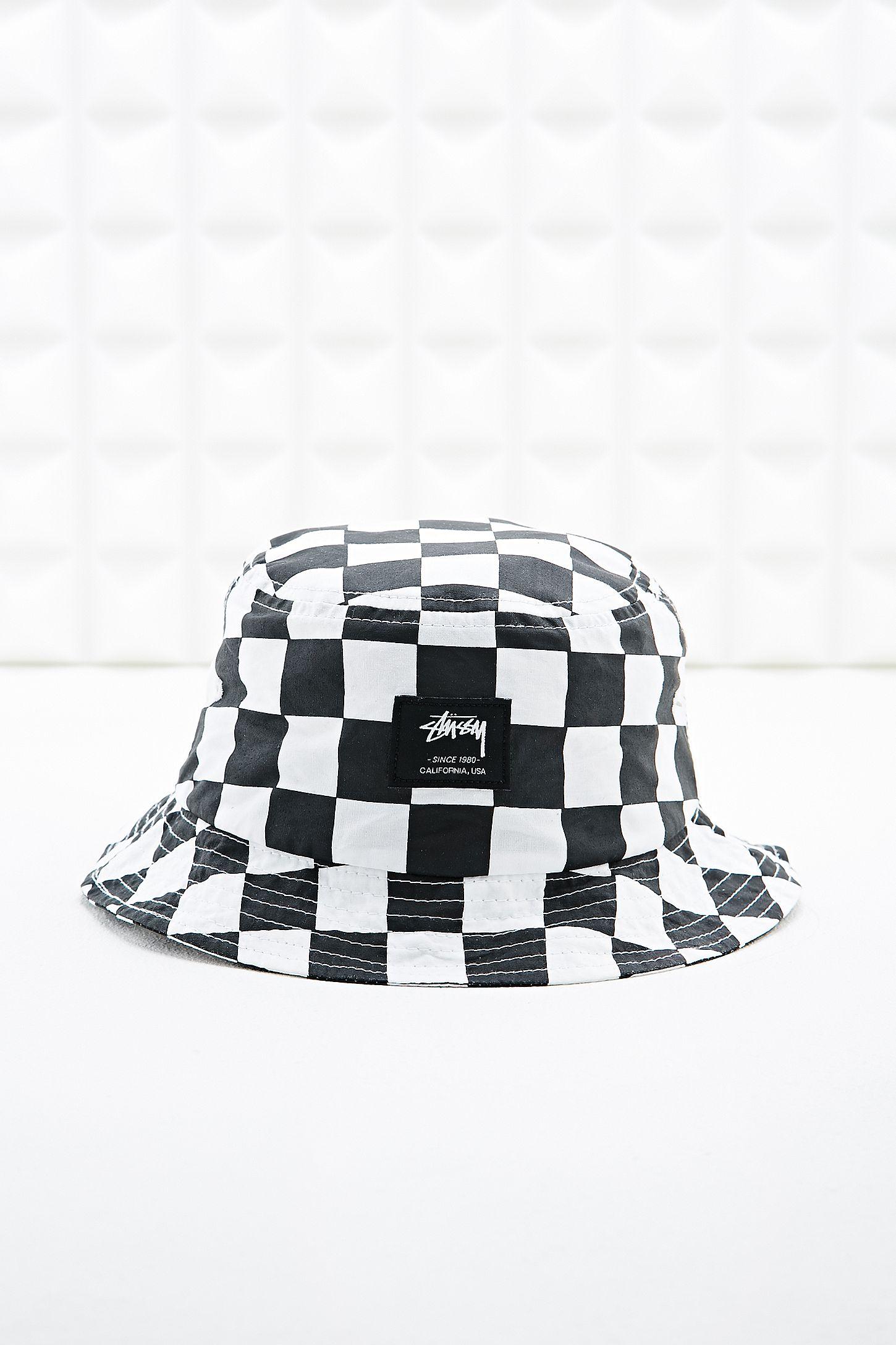 83d0df2fb62bc Stussy Bucket Hat in Checkerboard Print