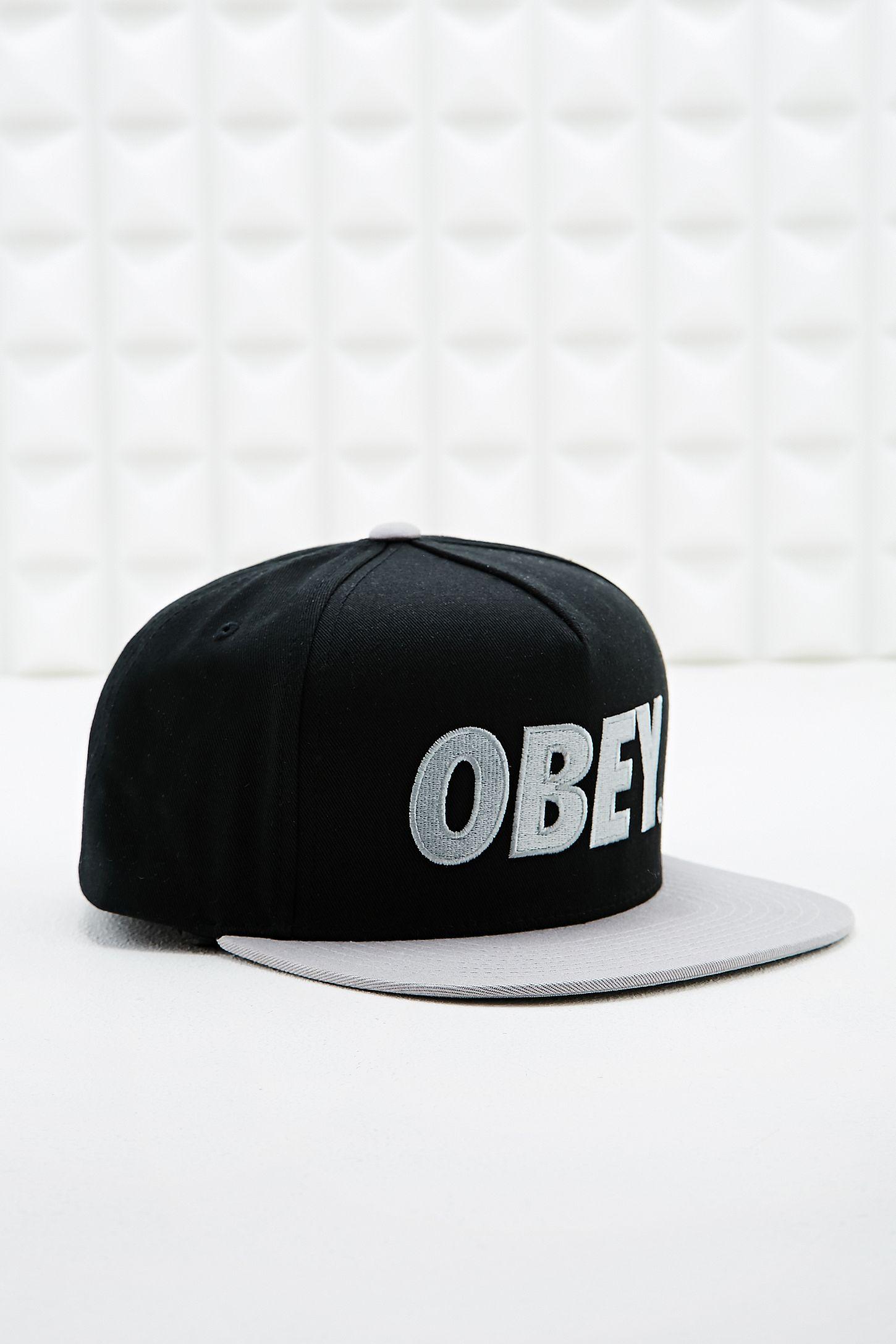 f11a2721b07 Obey City Snapback Cap in Black   Silver