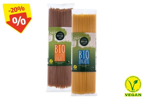 Zwei verschiedene Sorten NATUR AKTIV BIO-Spaghetti