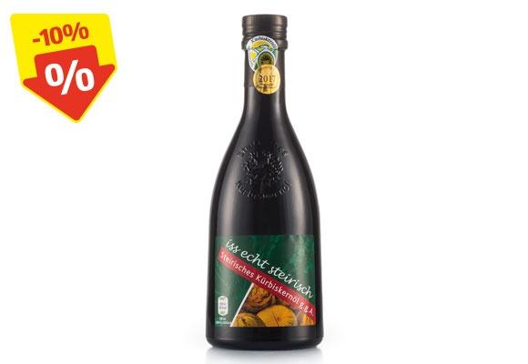 Eine Flasche ISS ECHT STEIRISCH Steirisches Kürbiskernöl