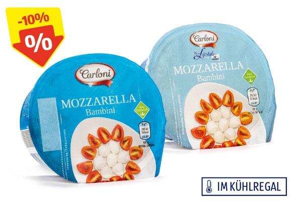 Zwei Packungen CARLONI Mozzarella Bambini