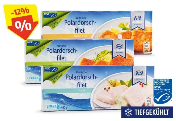 Drei Packungen ALMARE SEAFOOD MSC Polardorsch