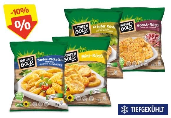 Vier verschiedene Sorten NATURE'S GOLD Kartoffelspezialitäten