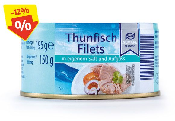 Eine Dose ALMARE SEAFOOD Thunfischfilets.