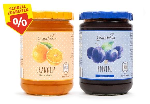Zwei Gläser GRANDESSA Orangenmarmelade/Powidl