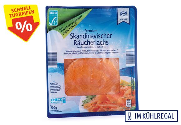 Eine Packung ALMARE SEAFOOD ASC Räucherlachs