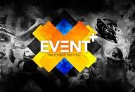 Event+ Logo auf grauem Hintergrund.