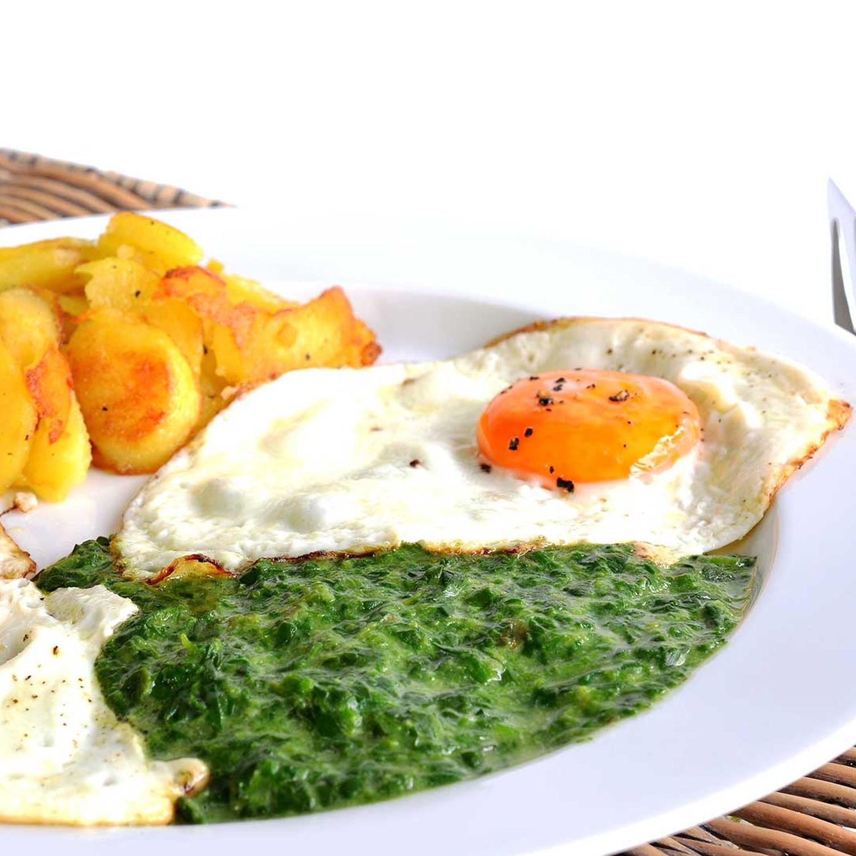 Bratkartoffeln mit Spinat und Spiegelei