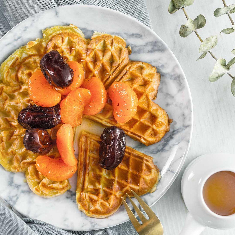 Frischkäsewaffeln mit Orangen-Honig