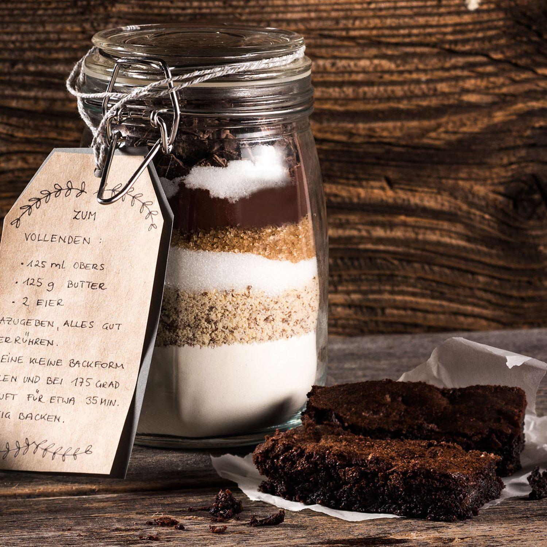 Kuchen-Backmischung im Glas für Schoko-Brownies