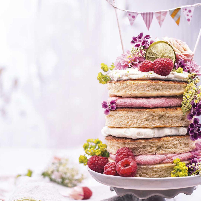 Mini-Pancake-Limetten-Himbeer-Torte