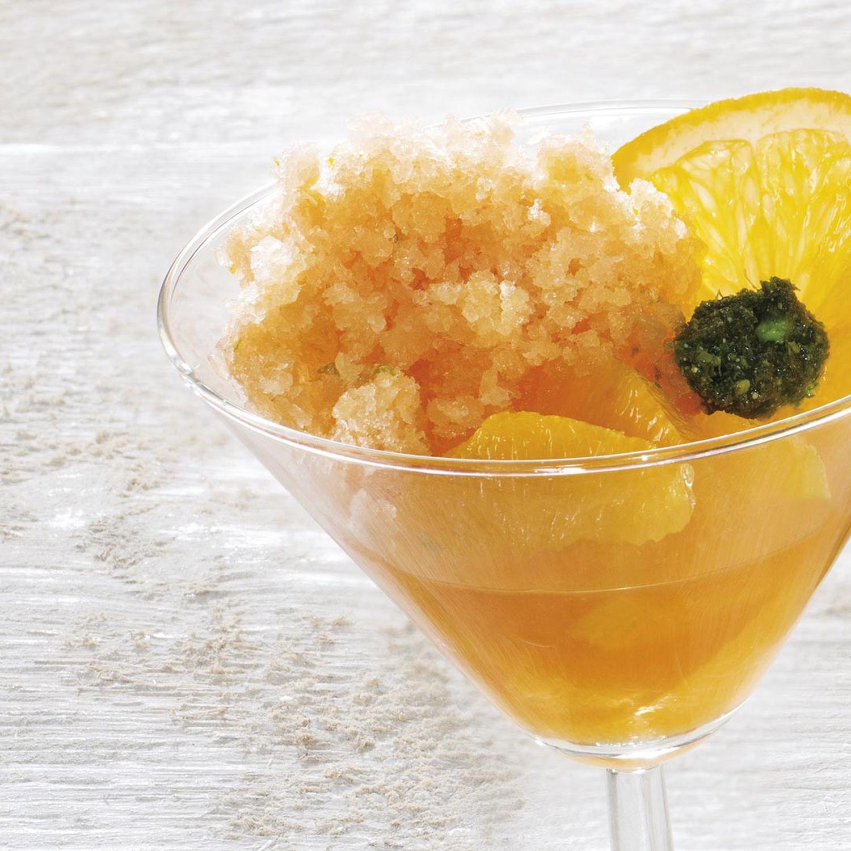 Orangensülzchen mit Aperitivo Italiano Granita