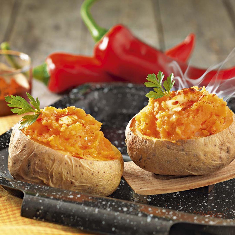 Gefüllte Jumbokartoffeln mit Chili-Kartoffelpüree