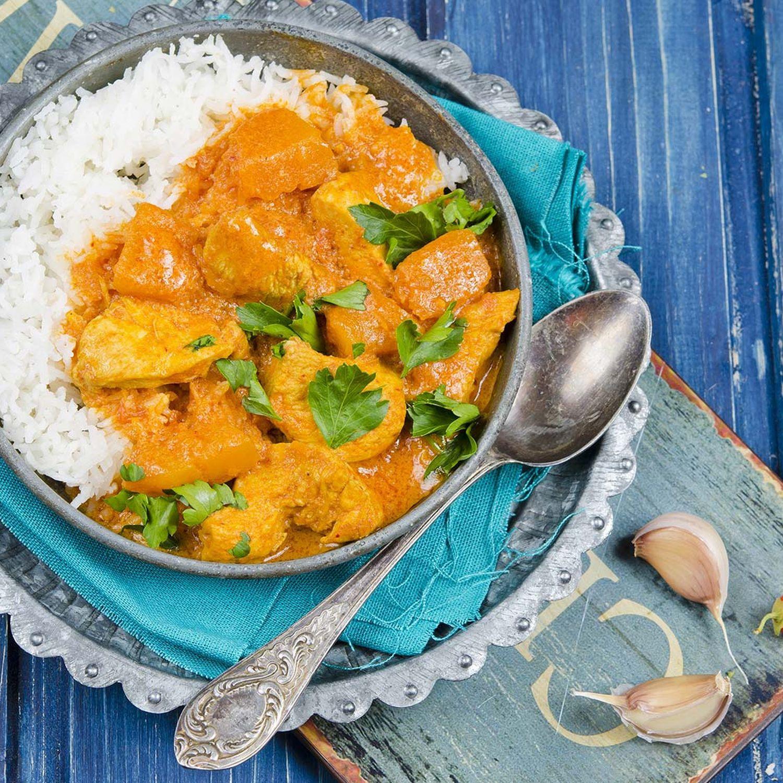 Kürbis-Hühner-Curry mit Basmatireis