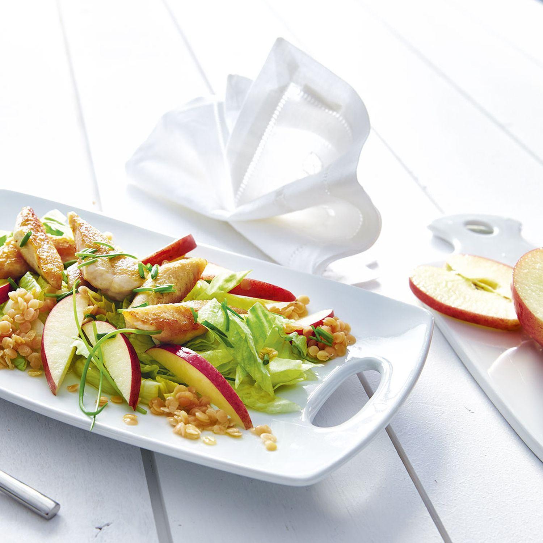 Linsensalat mit Hühnerbruststreifen