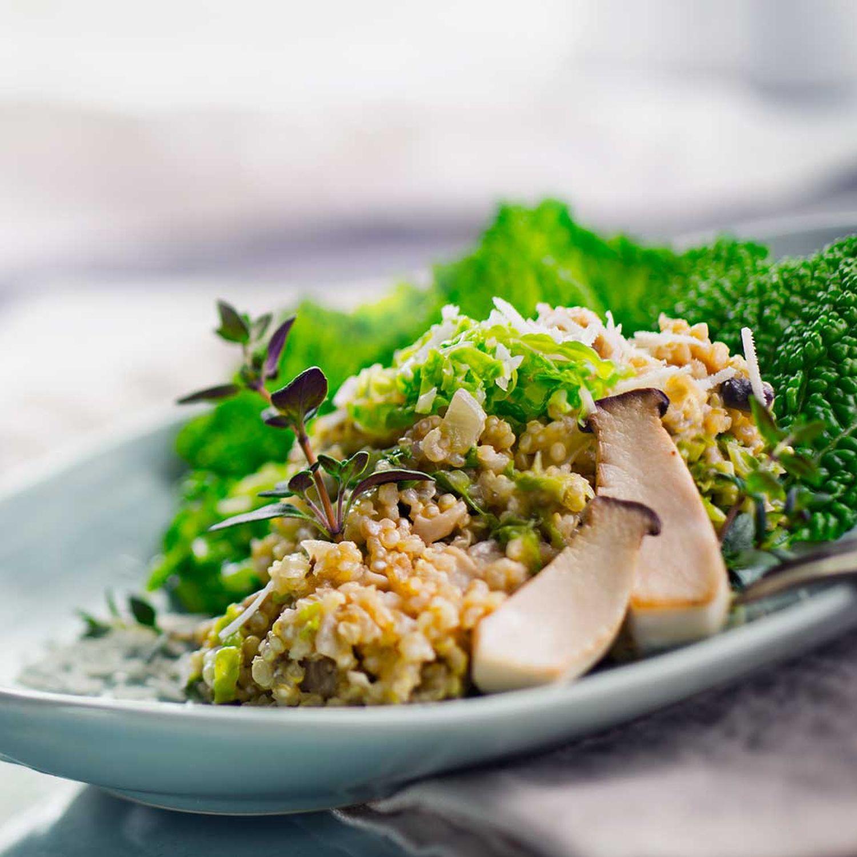 Quinoa-Risotto mit Pilzen & Wirsing
