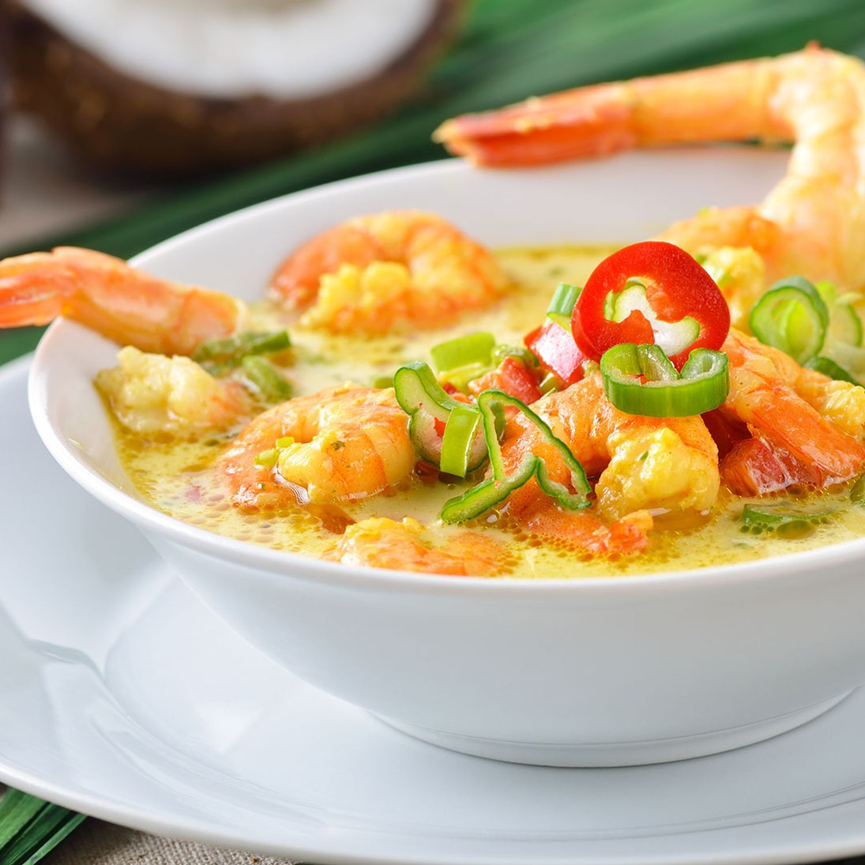 Garnelen-Kokos-Suppe mit Chili