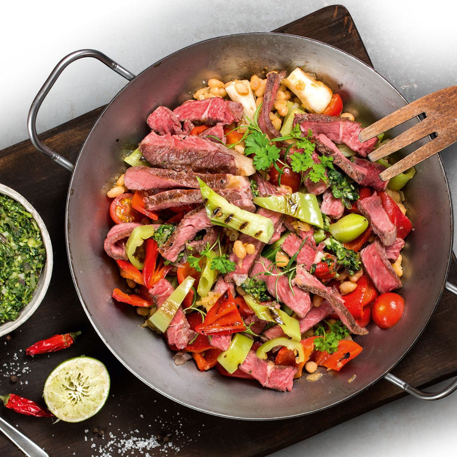 Steak-Pfanne mit Chimichurri