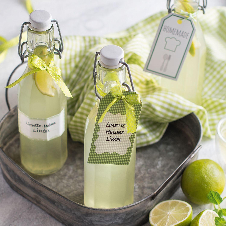 Limetten-Melissen-Likör