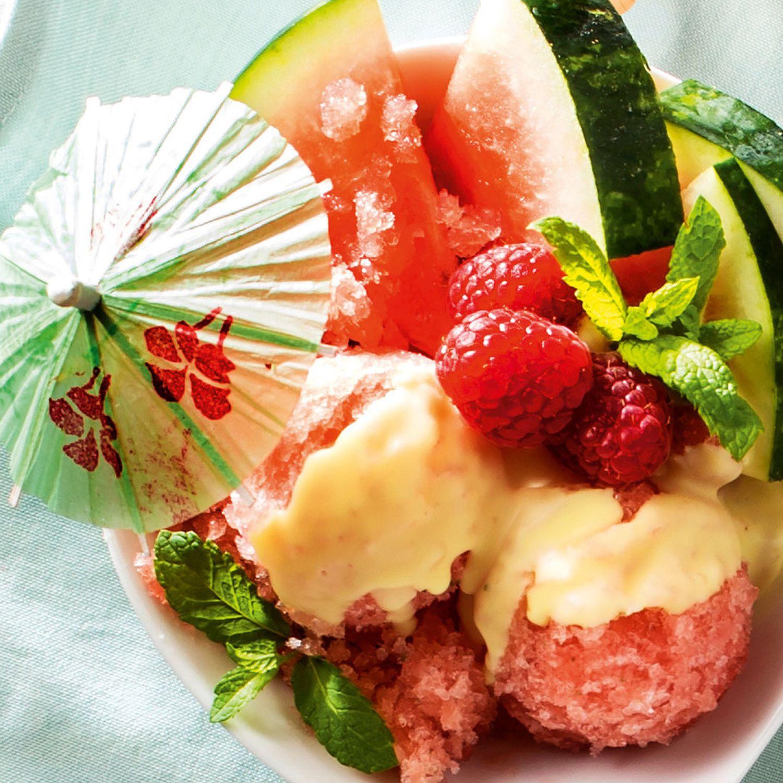 Wassermelonensorbet mit Minze