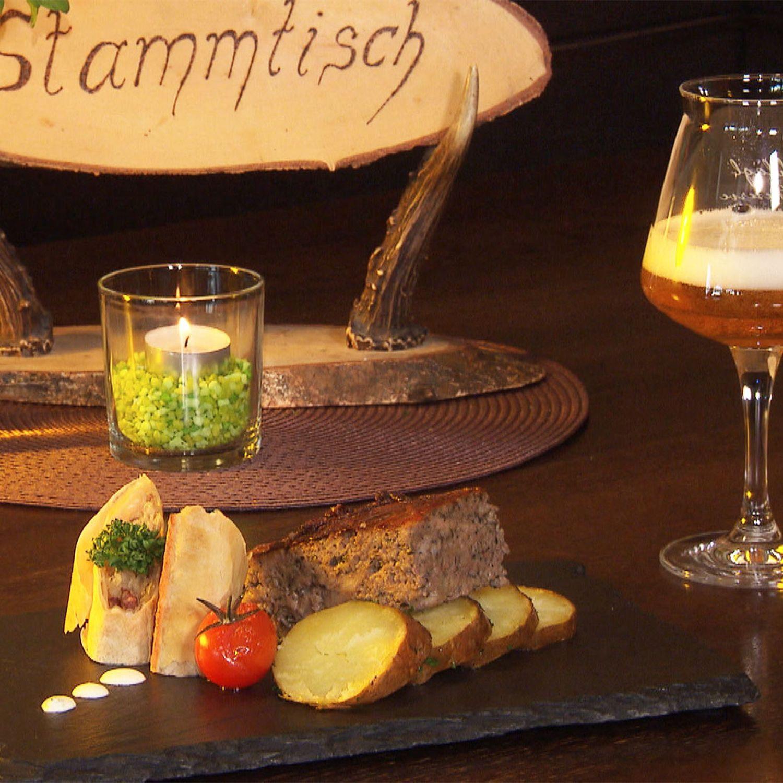 Leberschedl mit Sauerkrautstrudel